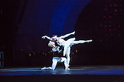 Siegfried and Odette dance a pas de deux. The males dancing female roles danced en pointe.