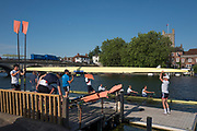 """Henley on Thames, United Kingdom, 3rd July 2018, Tuesday, View, """"Crews and Athletes"""", from Leander Club,  prepared, for the first, training session of the day, in preparation for Wednesday's, first day of the annual,  """"Henley Royal Regatta"""", Henley Reach, River Thames, Thames Valley, England, © Peter SPURRIER/Alamy Live News,,"""