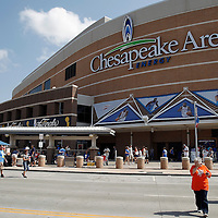 14 June 2012: Fans arrive at the arena prior to Game 2 - Heat at Thunder - of the 2012 NBA Finals, at the Chesapeake Energy Arena, Oklahoma City, Oklahoma, USA.