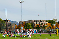 KELOWNA, BC - OCTOBER 6: Isaac Wegner #7 of Okanagan Sun kicks a field goal against the VI Raiders at the Apple Bowl on October 6, 2019 in Kelowna, Canada. (Photo by Marissa Baecker/Shoot the Breeze)