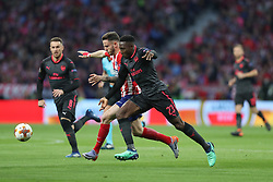 May 3, 2018 - Madrid, Spain - DANNY WELBECK of Arsenal FC duels for the ball with SAUL NIGUEZ of Atletico de Madrid during the UEFA Europa League, semi final, 2nd leg football match between Atletico de Madrid and Arsenal FC on May 3, 2018 at Metropolitano stadium in Madrid, Spain (Credit Image: © Manuel Blondeau via ZUMA Wire)