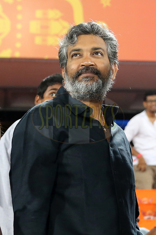 Telugu film Director Rajamouli during match 22 of the Vivo IPL 2016 (Indian Premier League ) between the Sunrisers Hyderabad and the Rising Pune Supergiants held at the Rajiv Gandhi Intl. Cricket Stadium, Hyderabad on the 26th April 2016<br /> <br /> Photo by Faheem Hussain / IPL/ SPORTZPICS