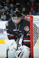 KELOWNA, CANADA - FEBRUARY 18: Deven Dubyk #33 of the Red Deer Rebels defends the net against the Kelowna Rockets as the Red Deer Rebels  visit  the Kelowna Rockets on February 18, 2012 at Prospera Place in Kelowna, British Columbia, Canada (Photo by Marissa Baecker/Shoot the Breeze) *** Local Caption ***