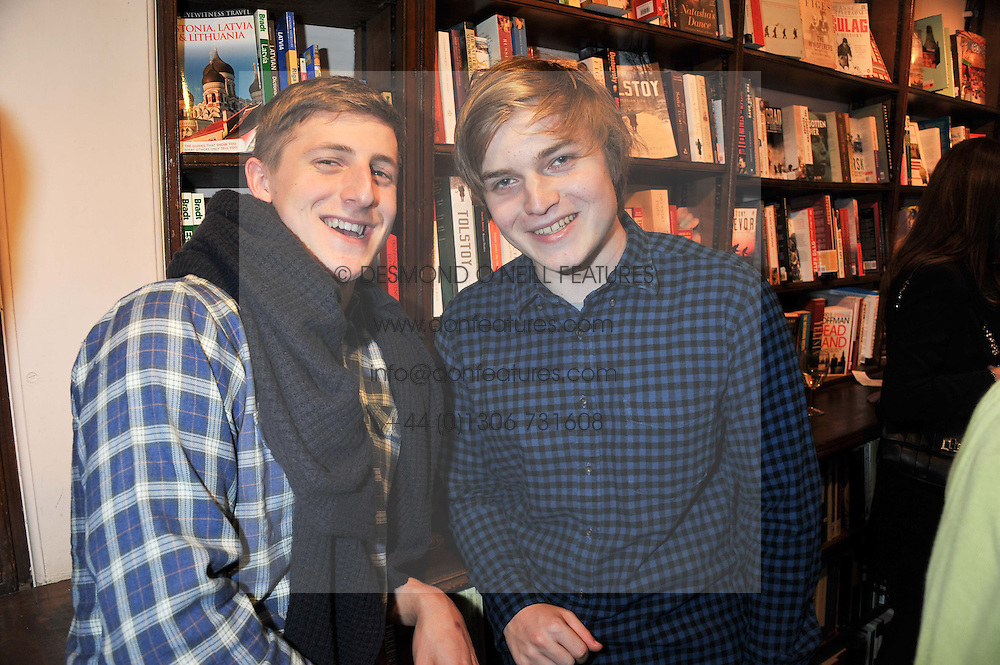 Left to right, MILO JOHNSON son of Boris Johnson and LUDO DAWNAY son of Rachel Johnson at a party to celebrate the publication of Stanley Johnson's new book 'Where The Wild Things Were' held at Daunt Books, 83 Marylebone High Street, London W1 on 18th July 2012.