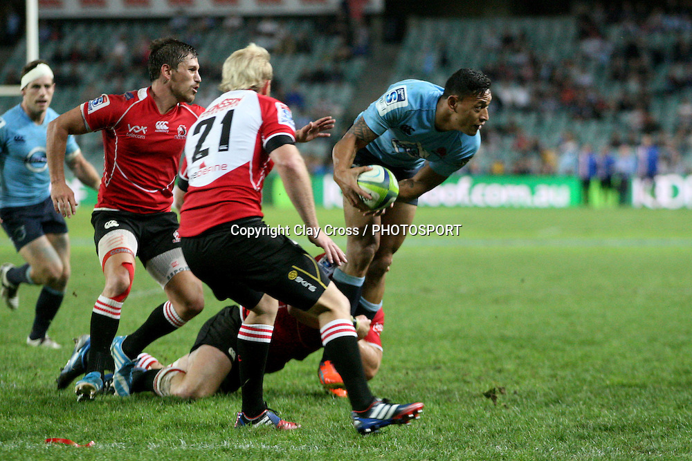 Israel Folau during the NSW Waratahs v Lions 2014 Super Rugby round 14 match. Allianz Stadium, Sydney. Sunday 18 May 2014. Photo: Clay Cross / photosport.co.nz