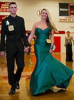 Duncan Sirois and Rylee Littlefield during Laconia High School's prom march Friday evening prior to their cruise on the Mount Washington.  (Karen Bobotas/for the Laconia Daily Sun)