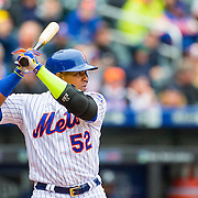 NEW YORK, NEW YORK - MAY 04:  Yoenis Cespedes #52 of the New York Mets batting during the Atlanta Braves Vs New York Mets MLB regular season game at Citi Field on May 04, 2016 in New York City. (Photo by Tim Clayton/Corbis via Getty Images)