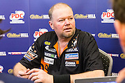 Raymond van Barneveld press conference after his Q/F win during the World Darts Championship at Alexandra Palace, London, United Kingdom on 1st January 2016. Photo by Shane Healey.