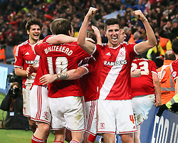 Middlesbrough's Daniel Ayala celebrates after Middlesbrough's second goal - Photo mandatory by-line: Matt McNulty/JMP - Mobile: 07966 386802 - 24/01/2015 - SPORT - Football - Manchester - Etihad Stadium - Manchester City v Middlesbrough - FA Cup Fourth Round
