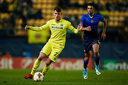 December 7, 2017 - Vila-Real, Castellon, Spain - Daniel Raba (L) of Villarreal CF competes for the ball with Nick Blackman of Maccabi Tel Aviv FC during the UEFA Europa League group A match between Villarreal CF and Maccabi Tel Aviv FC at Estadio de la Ceramica on December 7, 2017 in Vila-real, Spain  (Credit Image: © David Aliaga/NurPhoto via ZUMA Press)