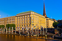 The Alster Canal near the Rathaus (City Hall), Hamburg, Germany