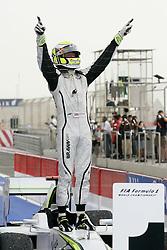 SAKHIR, BAHRAIN - Sunday, April 26, 2009: Jenson Button (GBR, Brawn GP) celebrates winning the Bahrain Grand Prix at the Bahrain International Circuit. (Pic by Michael Kunkel/Hoch Zwei/Propaganda)