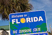 Welcome to Florida sign at the Visitors Center on I-95 in Yulee, FL.
