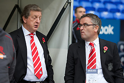 BOLTON, ENGLAND - Sunday, October 31, 2010: Liverpool's manager Roy Hodgson with press officer Paul Tyrell before the Premiership match against Bolton Wanderers at the Reebok Stadium. (Pic by: David Rawcliffe/Propaganda)
