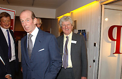 Left to right, HRH the DUKE OF KENT and ANDREW FESTING at the Royal Society of Portrait Painters annual show held at The Mall Galleries, The Mall, London on 26th April 2005.<br />