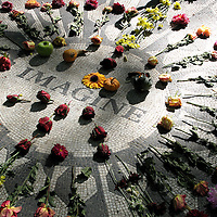 The John Lennon memorial in New York's Central Park.