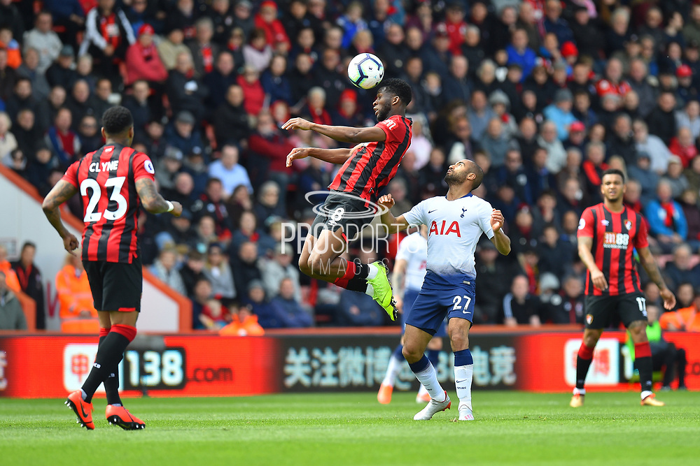 Jefferson Lerma (8) of AFC Bournemouth heads the ball getting above Lucas Moura (27) of Tottenham Hotspur during the Premier League match between Bournemouth and Tottenham Hotspur at the Vitality Stadium, Bournemouth, England on 4 May 2019.
