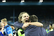 Huddersfield Town defender Michael Hefele (44) celebrates during the EFL Sky Bet Championship play off second leg match between Sheffield Wednesday and Huddersfield Town at Hillsborough, Sheffield, England on 17 May 2017. Photo by John Potts.