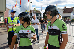 Rosella Ratto and Alison Tetrick check out the competition as they await to be called to the start ramp for the 42,5 km team time trial of the UCI Women's World Tour's 2016 Crescent Vårgårda Team Time Trial on August 19, 2016 in Vårgårda, Sweden. (Photo by Sean Robinson/Velofocus)