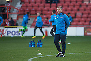 Forest Green Rovers assistant manager, Scott Lindsey oversees the warm up during the Vanarama National League match between Wrexham FC and Forest Green Rovers at the Racecourse Ground, Wrexham, United Kingdom on 26 November 2016. Photo by Shane Healey.