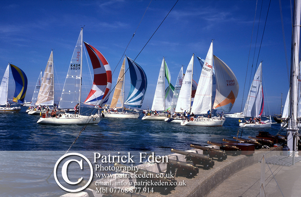 spinaker, finish, Royal Yacht Squadron, Cowes Week, Isle of Wight, England, UK, Photographs of the Isle of Wight by photographer Patrick Eden photography photograph canvas canvases
