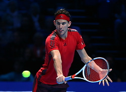 November 17, 2017 - London, United Kingdom - Dominic Thiem of Austria against David Goffin of Belgium.during Day six of the Nitto ATP World Tour  Finals played at The O2 Arena, London on November 17 2017  (Credit Image: © Kieran Galvin/NurPhoto via ZUMA Press)
