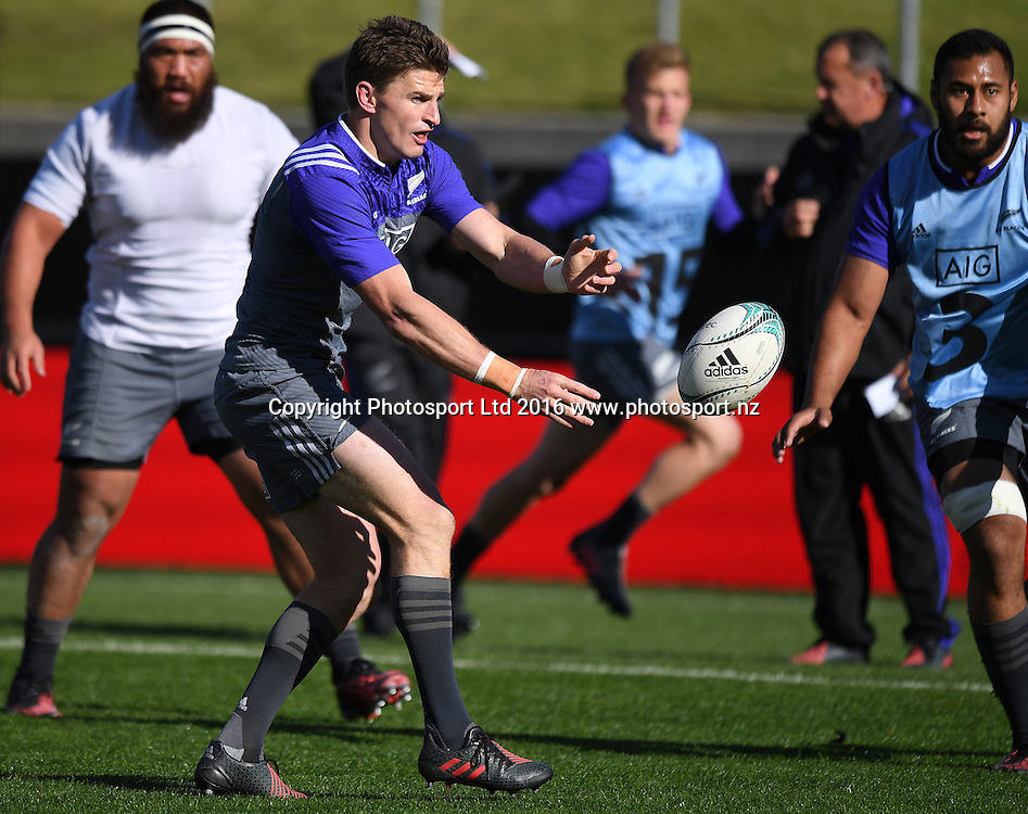 Beauden Barrett during an All Blacks training session in Hamilton ahead of the The Rugby Championship test match against Argentina. Thursday 8 September 2016. © Copyright Photo: Andrew Cornaga / www.Photosport.nz