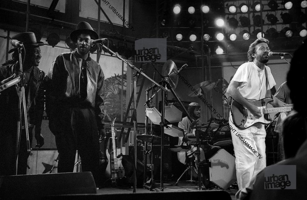 Eric Clapton jams with Aswad at the Island 25 party - London 1987,Aswad