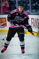 KELOWNA, CANADA - OCTOBER 21: Kyle Topping #24 of the Kelowna Rockets warms up against the Portland Winterhawks on October 21, 2017 at Prospera Place in Kelowna, British Columbia, Canada.  (Photo by Marissa Baecker/Shoot the Breeze)  *** Local Caption ***