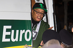London, February 20th 2017. Anti-Trump, anti-racism and anti-Brexit protesters gather in Parliament Square for a rally as the Commons debates the proposed state visit of US President Donald Trump following a 1,8million-strong petition against his visit.  PICTURED: Black rights activist Lee Jasper in a hired van which circled the square pumping out loud music.