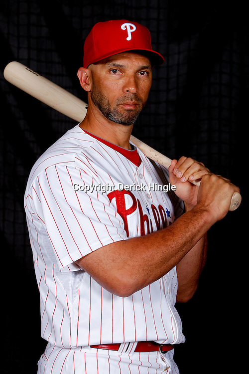 February 22, 2011; Clearwater, FL, USA;Philadelphia Phillies left fielder Raul Ibanez (29) poses during photo day at Bright House Networks Field. Mandatory Credit: Derick E. Hingle