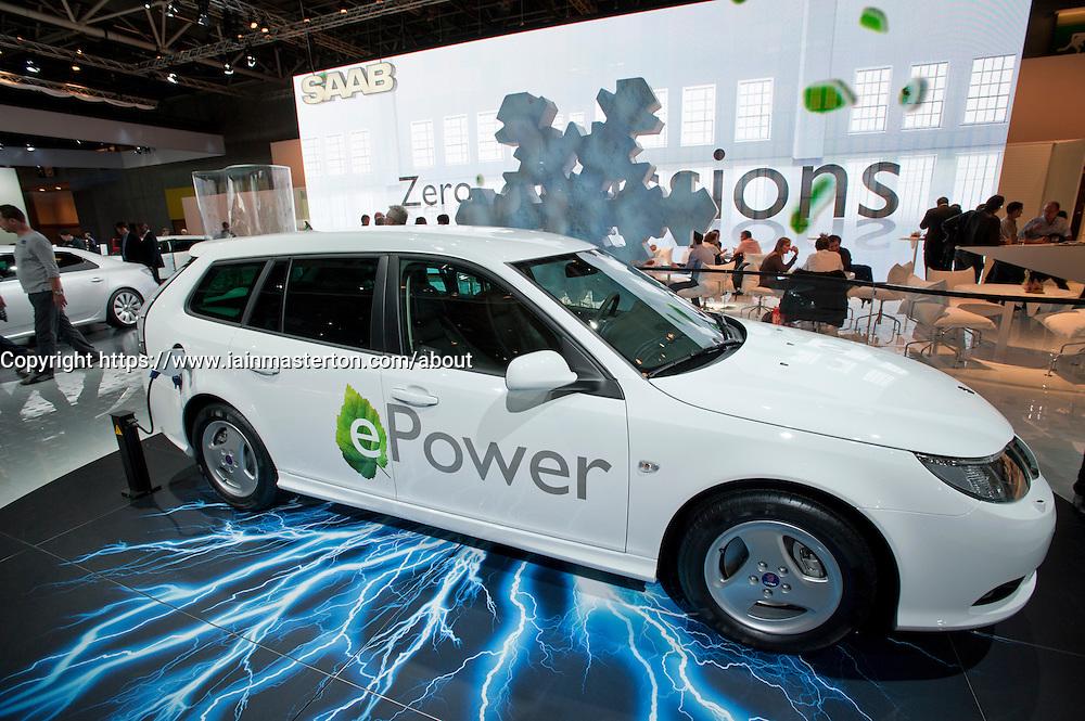 Saab 9-3 ePower electric car at Paris Motor Show 2010