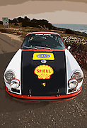 Image of a 1966 Porsche 911 R Gruppe Hot Rod ex-rally car in Cambria, California, America West, property released