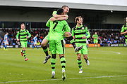 Forest Green Rovers Keanu Marsh-Brown(7) and Forest Green Rovers Liam Noble(15) celebrate, 0-1 during the Vanarama National League match between Macclesfield Town and Forest Green Rovers at Moss Rose, Macclesfield, United Kingdom on 12 November 2016. Photo by Shane Healey.