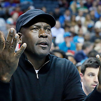 03 November 2015: Michael Jordan reacts during the Charlotte Hornets  130-105 victory over the Chicago Bulls, at the Time Warner Cable Arena, in Charlotte, North Carolina, USA.
