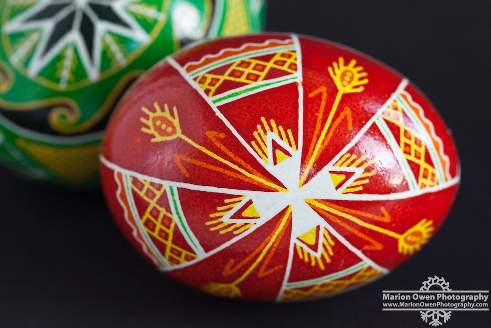 Closeup of traditional, Pysanky or Ukraine Easter eggs handmade by Orthodox nun, Kodiak Island, Alaska.