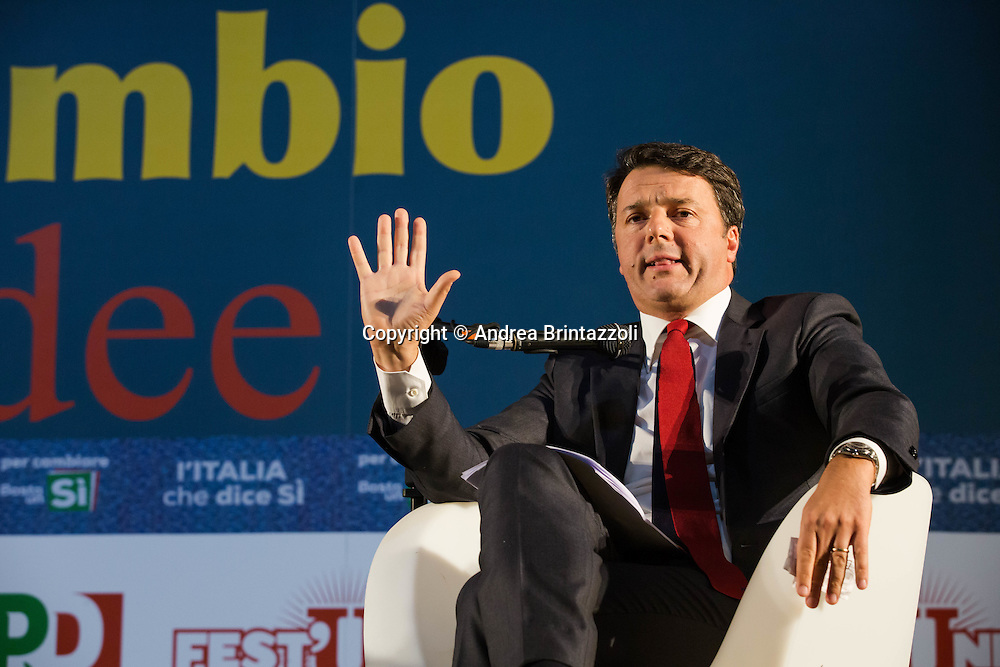Bologna 15/09/2016 &ldquo;Le ragioni del SI e del NO&rdquo; Confronto tra Matteo Renzi Presidente del Consiglio e Carlo Smuraglia Presidnete ANPI<br /> Nella Foto: Matteo Renzi Presidente del Consiglio
