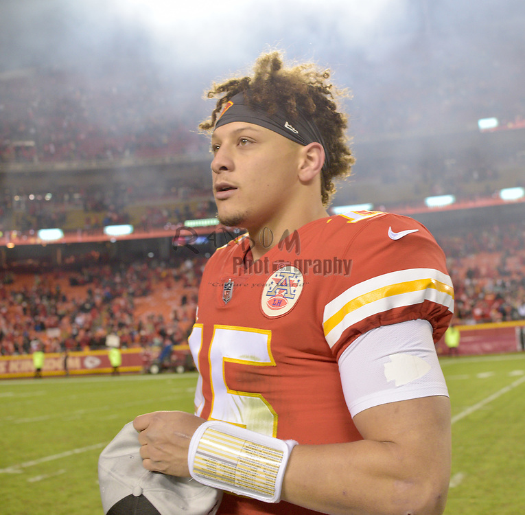 Dec 30, 2018; Kansas City, MO, USA; Kansas City Chiefs quarterback Patrick Mahomes (15) walks to talk with reporters after the game against the Oakland Raiders at Arrowhead Stadium. The Chiefs won 35-3. Mandatory Credit: Denny Medley-USA TODAY Sports