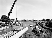 One of the final sections of the Kinsale–Dublin gas pipeline being installed. This section runs along the bank of the Grand Canal at Inchicore, Dublin.<br />
