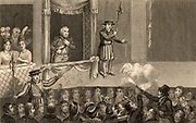 Attempt on the life of George III (1738-1820) king of Great Britain and Ireland from 1760. Attempt on the king's life at the theatre, 15 May 1800. Engraving published in 1820.