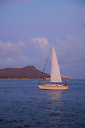 Sailboat, Diamond Head, Waikiki, Honolulu, Oahu, Hawaii