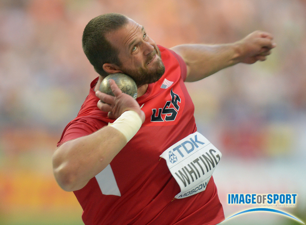 Aug 16, 2013; Moscow, RUSSIA; Ryan Whiting (USA) places second in the shot put at 70-9 1/4 (21.57m) in the 14th IAAF World Championships in Athletics at Luzhniki Stadium.