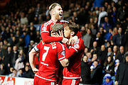 Middlesbrough FC midfielder Gaston Ramirez (21) celebrates his goal with his team mates during the Sky Bet Championship match between Queens Park Rangers and Middlesbrough at the Loftus Road Stadium, London, England on 1 April 2016. Photo by Andy Walter.