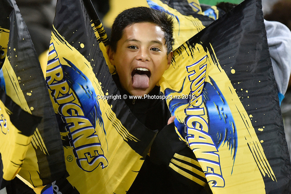 Hurricanes fans during the Hurricanes vs Blues Super Rugby  match at the Westpac Stadium in Wellington on Saturday the 2nd of July 2016. Copyright Photo by Marty Melville / www.Photosport.nz