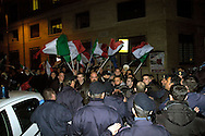 Roma 7 Febbraio  2008.Manifestanti di Casa Pound, e Blocco Studentesco,cercano di occupare il Teatro Brancaccio,per protestare contro l'annullamento del convegno sulle Foibe, le Forze dell'Ordine li bloccano. Rome February 7, 2008.Demonstrators of Casa Pound, and Blocco studentesco, trying to occupy the Teatro Brancaccio,for  protest the cancellation of the conference on Foibe, the police blocked them