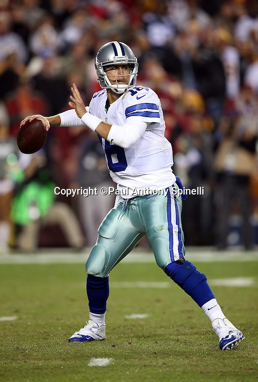 Dallas Cowboys quarterback Matt Cassel (16) throws a pass during the 2015 week 13 regular season NFL football game against the Washington Redskins on Monday, Dec. 7, 2015 in Landover, Md. The Cowboys won the game 19-16. (©Paul Anthony Spinelli)
