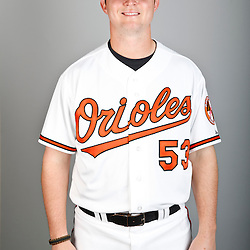 Feb 22, 2013; Sarasota, FL, USA; Baltimore Orioles starting pitcher Zach Britton (53) at the Orioles clubhouse. Mandatory Credit: Derick E. Hingle-USA TODAY Sports