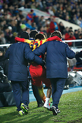 16.01.2014, Coliseum Alfonso Perez, Getafe, ESP, Copa del Rey, FC Getafe vs FC Barcelona, Achtelfinale, Rueckspiel, im Bild Barcelona´s Neymar gets injured // Barcelona´s Neymar gets injured during the last sixteen 2nd leg match of Spanish Copa del Rey between Getafe CF and Barcelona FC at the Coliseum Alfonso Perez in Getafe, Spain on 2014/01/16. EXPA Pictures © 2014, PhotoCredit: EXPA/ Alterphotos/ Victor Blanco<br /> <br /> *****ATTENTION - OUT of ESP, SUI*****
