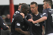 Goalscorers Christian Nade and Peter MacDonald congratulate each other - Dundee v Dumbarton, SPFL Championship, Helicopter Saturday at Dens Park<br /> <br />  - &copy; David Young - www.davidyoungphoto.co.uk - email: davidyoungphoto@gmail.com
