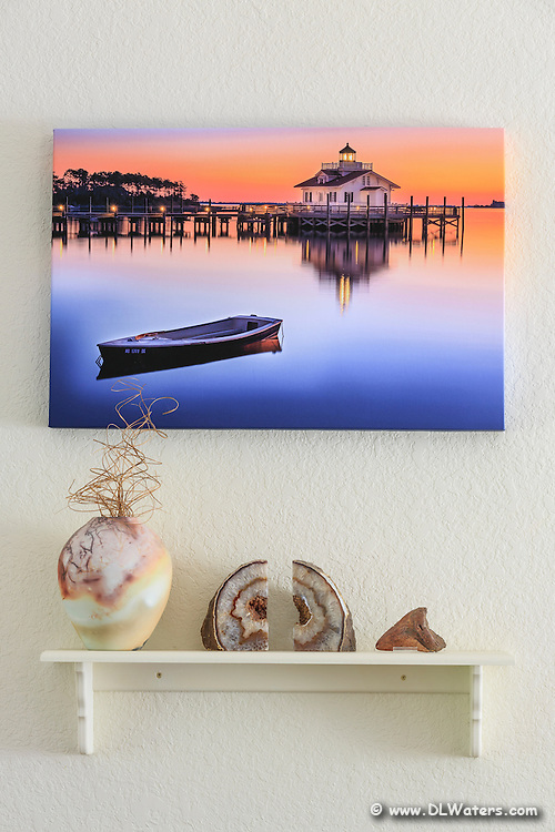 A 20 x 30 gallery wrapped canvas print hanging on the wall over our couch. Almost all of my photos are available printed this way.